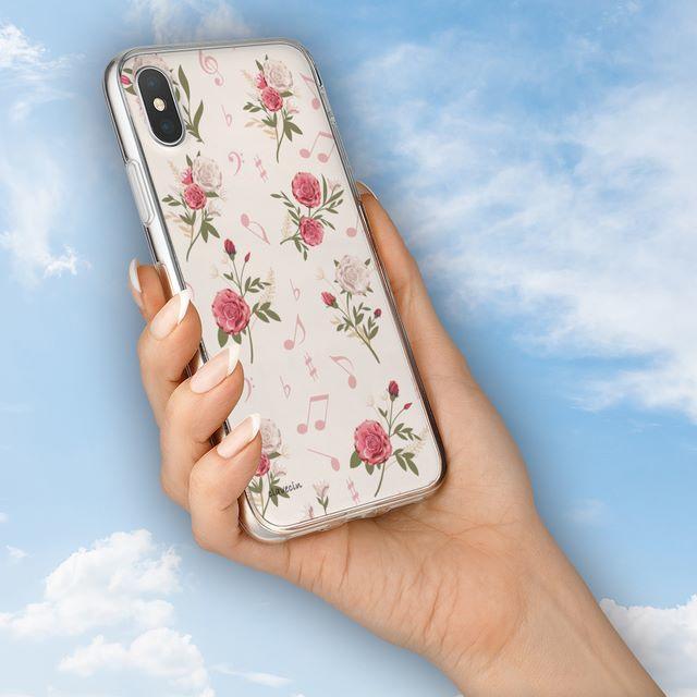 花と音符シリーズ♬ピンクの薔薇と音符♬スマホケース♬ハードケースの通販 by ♬nanayotta♬'s shop|ラクマ