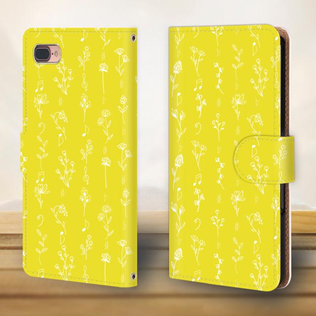 iphone xs max ケース 本 革 | 花と音符シリーズ♬可憐な手書きの野草花 レモン色♬スマホケース♬手帳型の通販 by ♬nanayotta♬'s shop|ラクマ