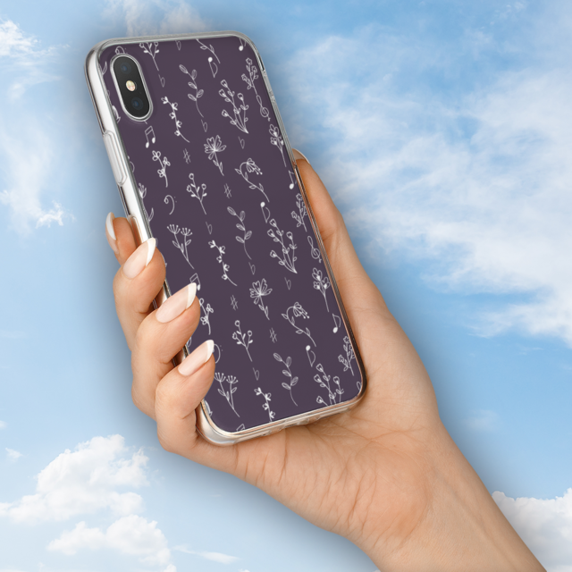 iphone シール 、 花と音符シリーズ♬可憐な手書きの野草花 菫(すみれ)色♬スマホ用ハードケースの通販 by ♬nanayotta♬'s shop|ラクマ