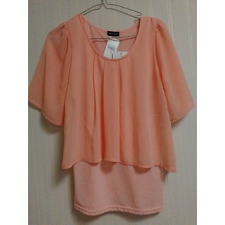 新品未使用タグ付き◎シフォン重ねTシャツ 【カラー】オレンジ 【サイズ】M (Tシャツ(半袖/袖なし))