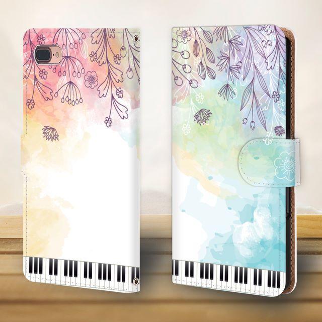 花と鍵盤シリーズ♬水彩画風のすずらんやたんぽぽ♬スマホケース♬手帳型の通販 by ♬nanayotta♬'s shop|ラクマ