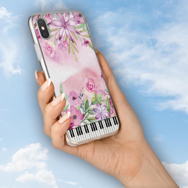 花と鍵盤シリーズ♬水彩画風のクレマチスや日々草♬スマホ用ハードケースの通販 by ♬nanayotta♬'s shop|ラクマ