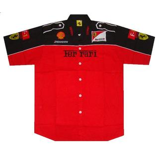 【送料無料】Ferrari フェラーリ 半袖クルーシャツ 赤・黒 XXLサイズ(シャツ)