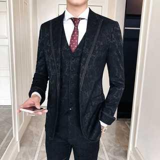 メンズスーツセットアップ人気ホストタキシード司会者スリム紳士服黒 OT061(セットアップ)