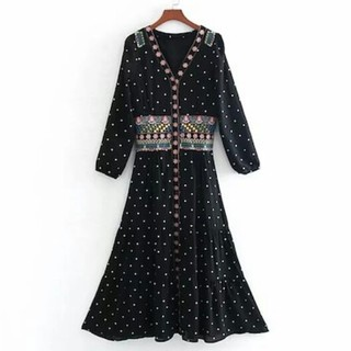 ZARA - ~新品 ドット 刺繍 ワンピース ~羽織りにも