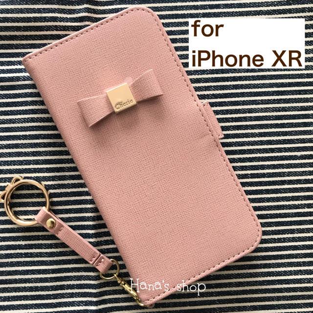 iPhoneXR  リボン ストラップ付 耐衝撃 手帳型 ケース ピンクの通販 by Hana's shop|ラクマ