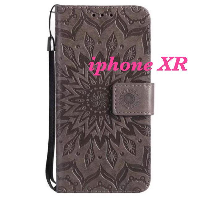 iphone XR  デザイン手帳型ケース(グレー)の通販 by yuyu's shop|ラクマ