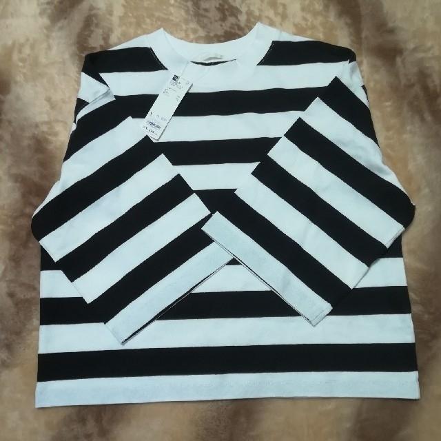 GU(ジーユー)の新品 GU ボーダークロップドT (7分袖) JN レディースのトップス(Tシャツ(長袖/七分))の商品写真