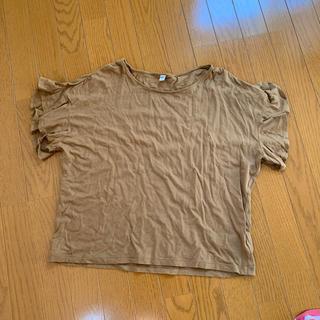 ユニクロ(UNIQLO)のフレアTシャツ ブラウン XL UNIQLO(Tシャツ(半袖/袖なし))