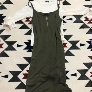 シマムラ(しまむら)のロング ワンピース 長袖付き 未使用 M(ロングワンピース/マキシワンピース)