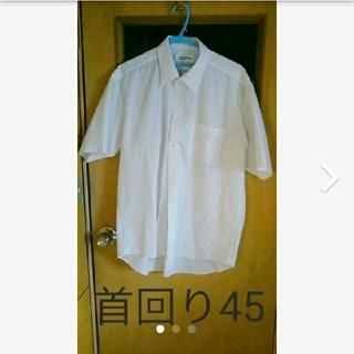 Yシャツ 半袖  首回り45㎝  白  ビジネス(シャツ)