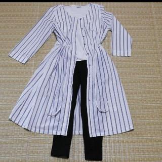 シマムラ(しまむら)のストライプ ノーカラー ロング シャツ ワンピース(ロングワンピース/マキシワンピース)