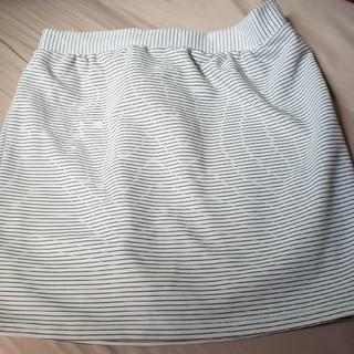 シマムラ(しまむら)のタイトスカート ボーダー 白 L(ミニスカート)