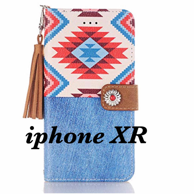 iphone8 ケース 可愛い 安い 、 iPhone XR手帳型ケース オルテガ柄 (RED denim) #61の通販 by yuyu's shop|ラクマ