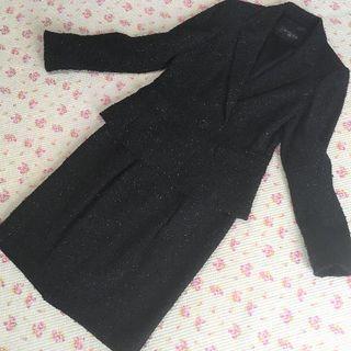 ミッシェルクラン(MICHEL KLEIN)のミッシェルクラン スカートスーツ 上38下36 W66 ラメ OL (スーツ)