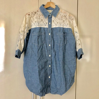 OZOC - 七分袖 オーバーサイズ デニムシャツ
