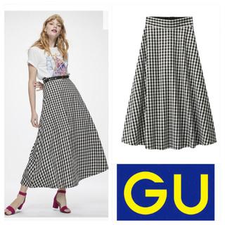 GU - 【美品】GU フレアロングスカート ギンガムチェック XL