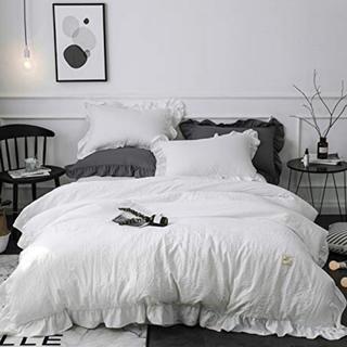 Francfranc - ベッドカバーセット 布団カバー スカート付 ホワイト フリル