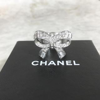 シャネル(CHANEL)の正規品 シャネル 指輪 リボン ココマーク ラインストーン シルバー 石 リング(リング(指輪))