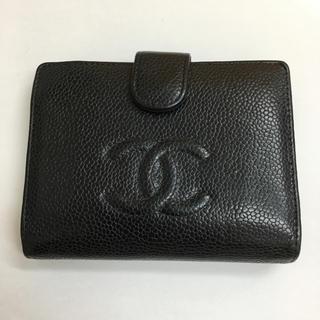 シャネル(CHANEL)の正規品 シャネル キャビアスキン 折財布 d006(財布)