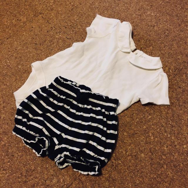 babyGAP(ベビーギャップ)のbaby GAP 襟付きロンパース かぼちゃパンツ セット 70 80 キッズ/ベビー/マタニティのベビー服(~85cm)(ロンパース)の商品写真