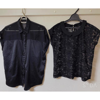 ジーユー(GU)のシースルー トップス 2枚セット(シャツ/ブラウス(半袖/袖なし))