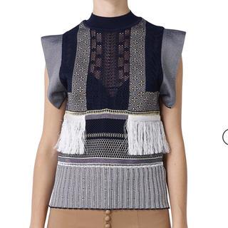 mame - Sash Jacquard Knit Tops - navy サイズ2