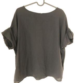 ジーユー(GU)のGU ロールアップスリーブブラウス 半袖 ブラック 黒 サイズL(シャツ/ブラウス(半袖/袖なし))