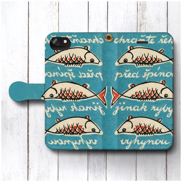 レトロ スマホケース手帳型 全機種対応型 マッチラベル 北欧デザイン 魚の通販 by NatureMate's shop|ラクマ