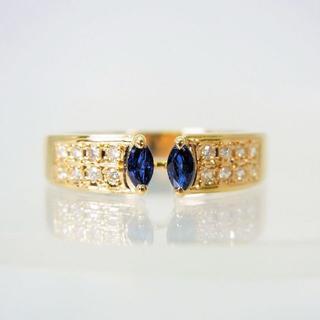 K18 天然サファイア ダイヤモンド リング 15.5号[f456-13](リング(指輪))