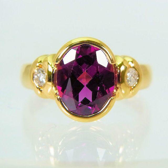 K18 ロードライトガーネット ダイヤモンド リング 7号[f456-14] レディースのアクセサリー(リング(指輪))の商品写真