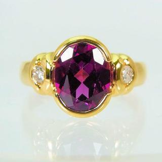 K18 ロードライトガーネット ダイヤモンド リング 7号[f456-14](リング(指輪))