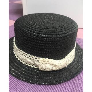 ビームスボーイ(BEAMS BOY)の大幅値下げ可☆黒のカンカン帽(麦わら帽子/ストローハット)