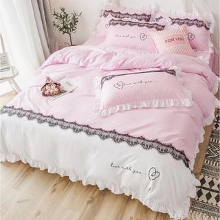 大人気 ベッド用4点セット セミダブル 姫系 柔らか 新品 ピンク