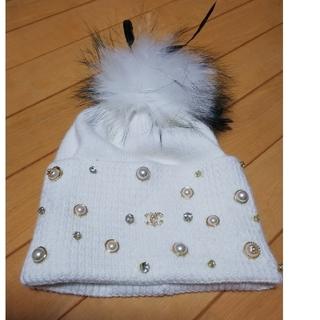 シャネル(CHANEL)のCHANEL ニット帽 ホワイト(ニット帽/ビーニー)