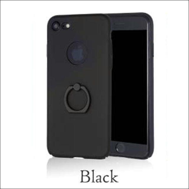 ガラスフィルム付き! シンプルリングカバー iPhone8 ブラックの通販 by TKストアー |ラクマ
