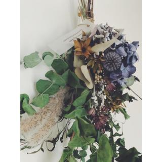 紫陽花とユーカリのシャビースワッグ4  blue grey(ドライフラワー)