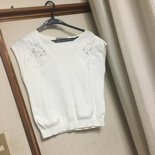リランドチュール(Rirandture)の美品 リランドチュール 肩レース ビジューニット ホワイト(ニット/セーター)