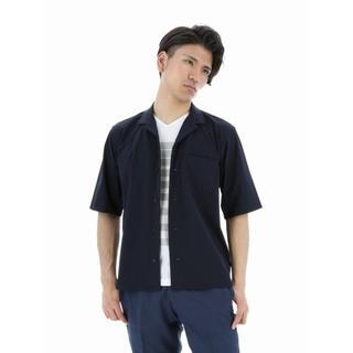 エムエフエディトリアル(m.f.editorial)のストレッチオープンカラー半袖シャツ  紺 夏 清涼感(シャツ)