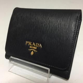 4c4033e45fd4 PRADA - PRADA 黒 サフィアーノ メタル 三つ折り財布 レザー プラダ