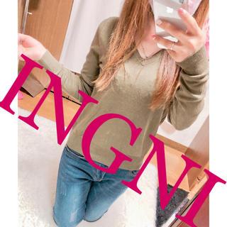 イング(INGNI)の584.INGNI カーキ Vネック トップス 伸縮性〇(カットソー(長袖/七分))