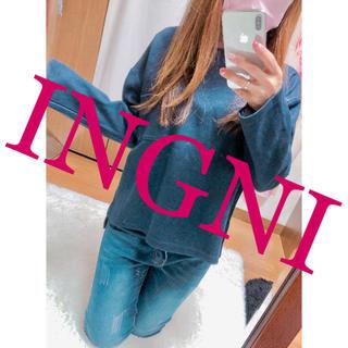 イング(INGNI)の594.INGNI 胸ポケット ネイビー カットソー デニム風(カットソー(長袖/七分))