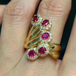 K18 天然ルビー&天然ダイヤモンドリング(リング(指輪))