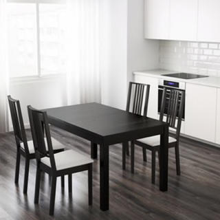 イケア(IKEA)のIKEA イケア 伸長式ダイニングテーブルセット ブラウンブラック 椅子4脚付き(ダイニングテーブル)