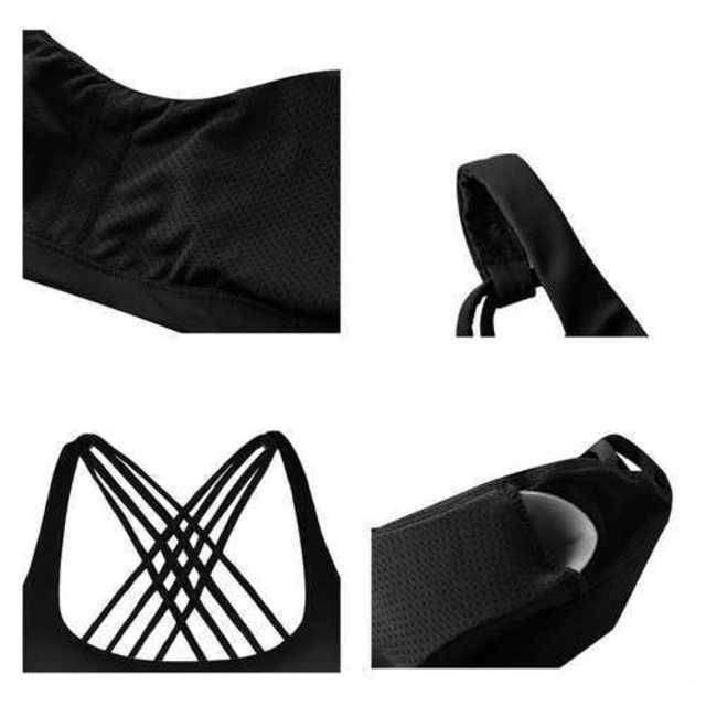 スポーツウェア ブラック スポーツブラ インナー クロス レディース ジム レディースの下着/アンダーウェア(ブラ)の商品写真