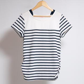 シマムラ(しまむら)のネイビー×ホワイト ボーダー Tシャツ(Tシャツ/カットソー)