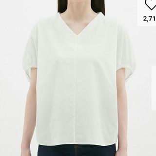 ジーユー(GU)のGU XSサイズ Vネックボリュームスリーブブラウス(半袖)Z(シャツ/ブラウス(半袖/袖なし))