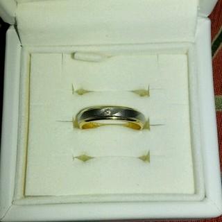 ダイヤモンド入プラチナ18kコンビリング(リング(指輪))