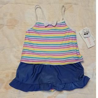797f6ef89bb4f 新品 未使用 水着 女の子 90cm ストライプ 虹色 縞模様 ワンピース 女子(水着)
