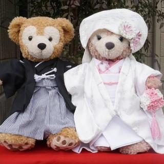 ダッフィー(ダッフィー)のダッフィー&シェリーメイのウエディング衣装 羽織袴と白無垢 ピンク(その他)